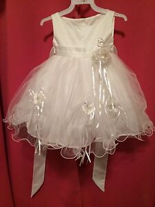 Beautiful WHITE Baptism or Flowergirl Dress with WHITE Shoes