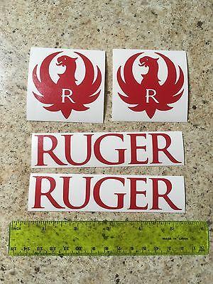 Ruger Logo Vinyl Die Cut Gun Red Decal Hunting Sticker 4 Pack Lot