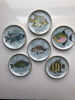 Vintage Kaiser West Germany Porcelain Fish Coasters/Butter Dishes