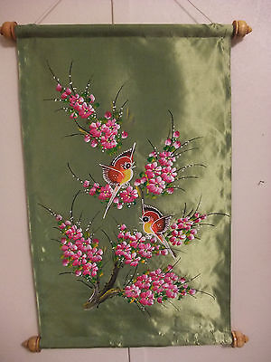 "Hand Painted Thai Red Birds Flowers Green Silk Wall Scroll 18"" 19"" from THAILAND"