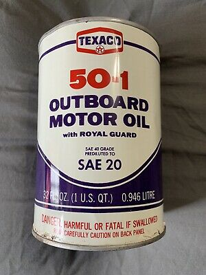 Vintage Full Texaco 50-1 Outboard Purple Motor Oil 1 One US Quart Oil Can NY