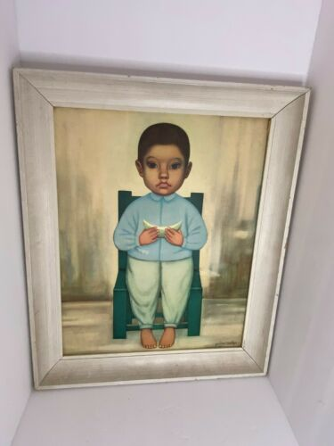 "🍊 Gustavo Montoya Museum Signed Print Framed 19""X15"" Little Boy Eating Melon FL"