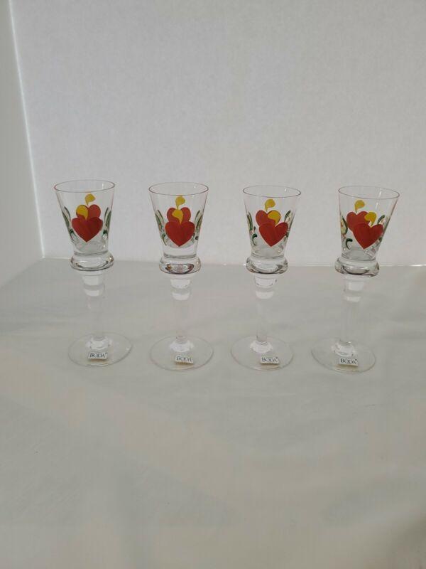 """Kosta Boda Sweden SET OF 4 Stemmed Shot Glasses Orange Hearts & Flowers 6.5"""""""
