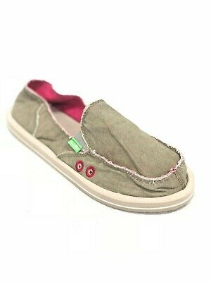 Distressed Canvas Slip Ons (Sanuk Donna Distressed Canvas Slip On Shoes Sidewalk Surfers Olive SWF11137 )