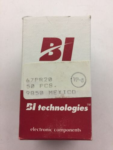 (55 PIECE LOT) 67PR20, BI TECH, TRIMMER 20 OHM 0.5W PC PIN TOP