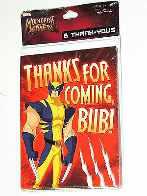 NEW~ ~WOLVERINE AND THEB X-MEN  8 THANK YOU  NOTES  RED  PARTY - Wolverine Party Supplies