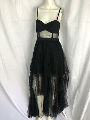 FAME and PARTNERS size 4 black sleeveless tulle long gown dress