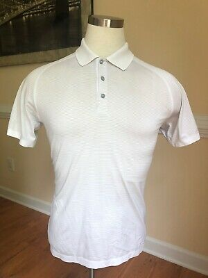Lululemon Men's Short Sleeve Sz Large White/Gray Striped Polo Golf Shirt