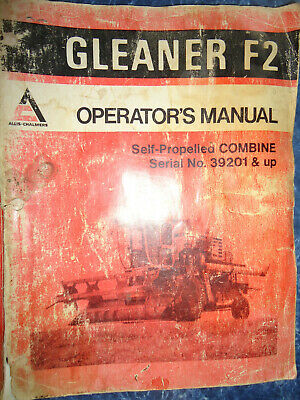 Gleaner Combine F2 Operators Manual Serial Number 39201 And Up