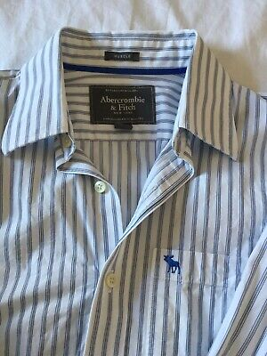 Abercrombie And Fitch Medium Muscle Fit White Grey Blue Striped Shirt Superdry