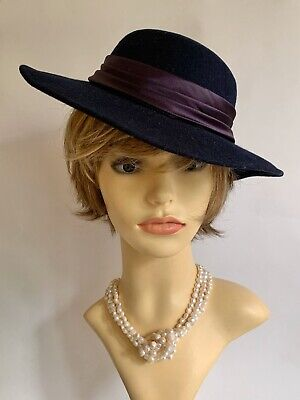 Vintage 1990s Medium Brim Blue Felt Formal Dress Hat Pleated Satin Ribbon & Bow