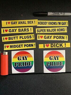 - 10 Piece Gay Prank Kit Mini Bumper Stickers