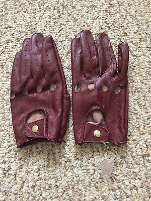 Men's Driving Burgundy leather Gloves  Size - Red Gloves