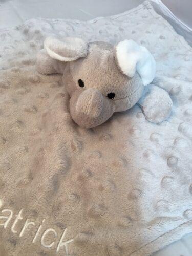 PATRICK Elegant Baby Elephant Security Blanket Lovey Gray Minky Dots Plush Gray - $15.92