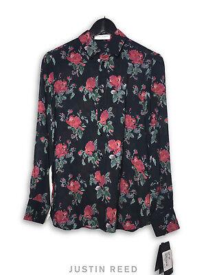 Saint Laurent 2016 Black Floral Button-Up Blouse Retail $1,290 Sz 38