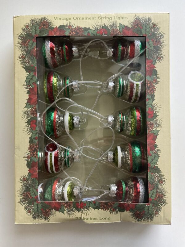 "Cracker Barrel Indent Christmas Ornament String Light Set 72"" Battery Operated"