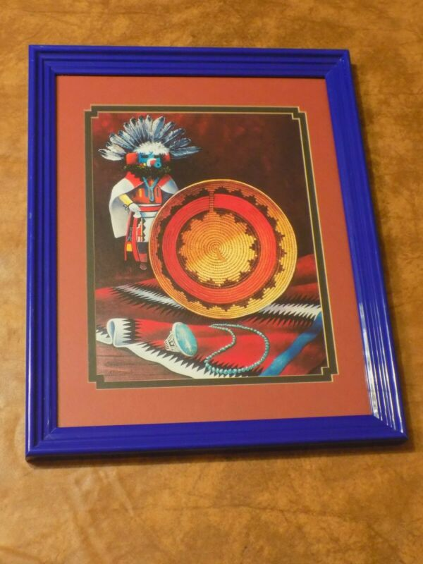 Native American Kachina Glass Picture Blue Framed Wall Art 15% Off Sale