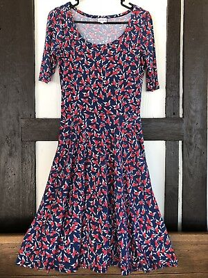 LuLaRoe Nicole Womens Small Red White Blue Bird Print Fit & Flare Dress Scoop Nk