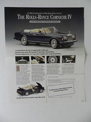 1992 ROLLS-ROYCE CORNICHE IV ANNIVERSARY LTD ED FRANKLIN MINT BROCHURE