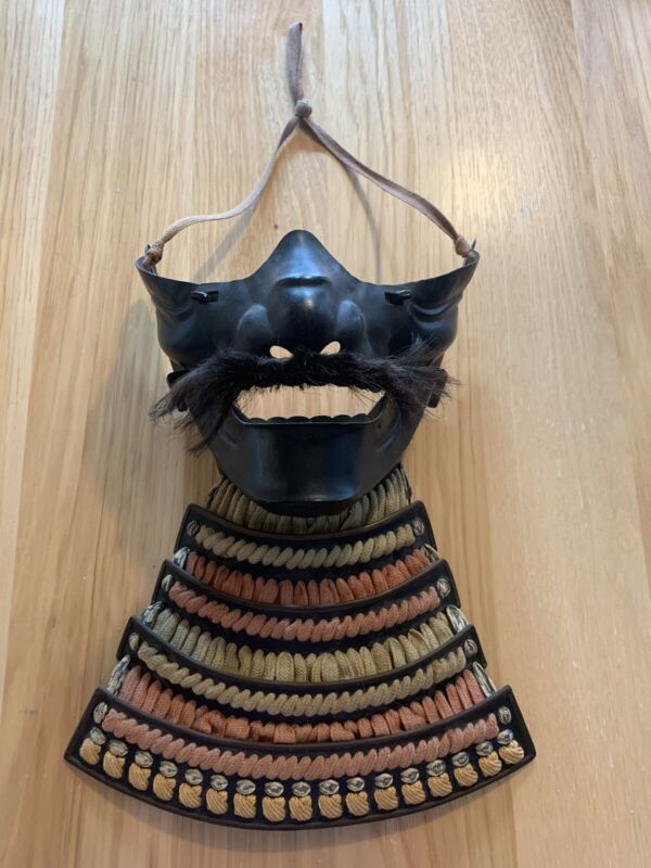 Antique Japanese Samurai Mask (with natural hair mustache)