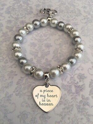 Lost Loved Ones Memory Bereavement Bracelet.  A Piece Of My Heart Is In