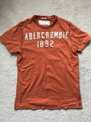 abercrombie and fitch Mens T Shirt Large Size Muscle Fit Orange Cotton
