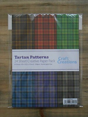 24 Sheets Assorted TARTAN Check 120gsm A5+ Patterned Craft Paper