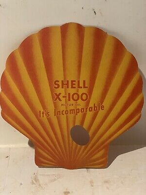 Vintage 1950's Shell Premium Gasoline with TCP & X-100 Motor Oil Paper Hand Fan