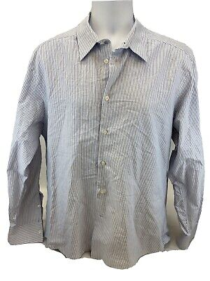 Versace Collection Men's Blue/White Striped Trend Dress Shirt Sz 43