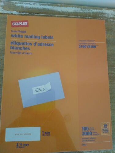 """Staples White Inkjet/Laser Address Labels, 1"""" X 2-5/8"""", 3,00"""