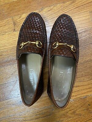 Authentic Gucci Vintage Leather Brown Loafers Fits 9 1/2 US 110 0111