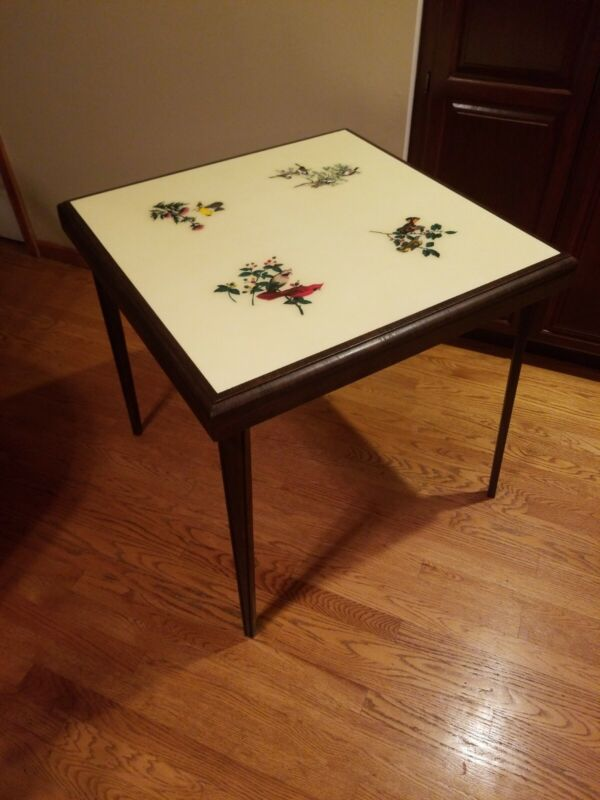 """Rare Vintage Wood Folding Card Table with Song Bird Theme 30"""" x 30"""" w/ Wood Legs"""