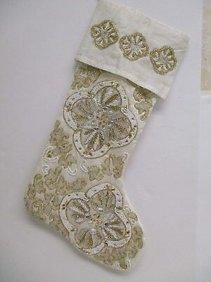 White And Gold Christmas Stockings (White with Gold Beaded Christmas Stocking 19