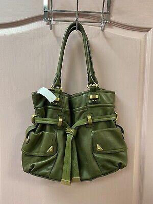 B. Makowsky Large Olive Green Leather Belted Carryall Satchel Shoulder Handbag