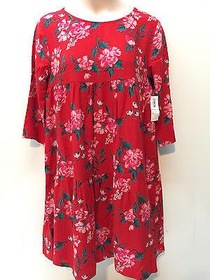 skose Blumenmuster Kleid Rot Blau Größe 10-12 14 3/4 Ärmel (Mädchen Größe 12 14 Kleider)