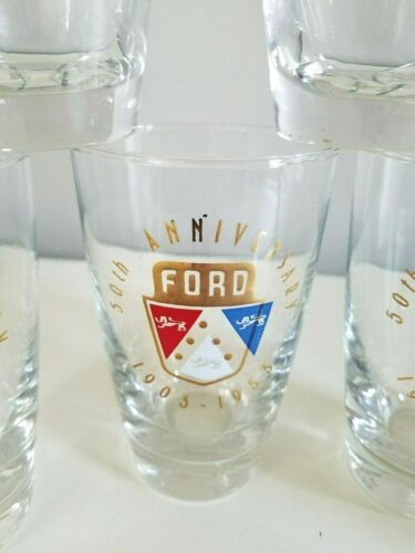 (6) Vintage 1950s FORD Motor Co. 50th Anniversary Car Cocktail Glasses Tumblers