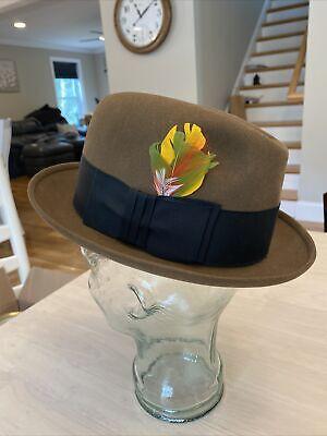 1950s Mens Hats | 50s Vintage Men's Hats Vintage 1950s DOBBS - Fur Felt - Fedora Hat Size 7 1/8 Exc $95.00 AT vintagedancer.com