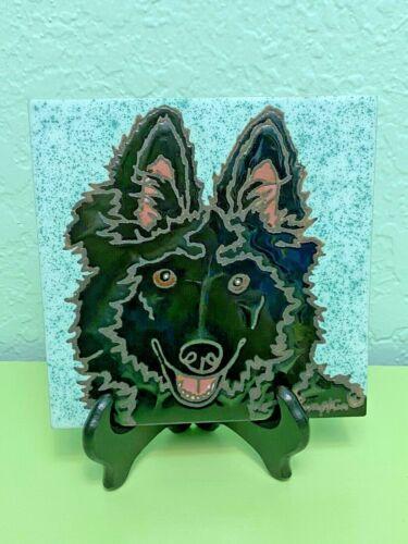 Painted Belgian Sheepdog Ceramic Tile Wall Hanging Hot Pad Super Cute Rare