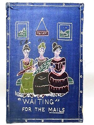 1908 SILK FRONT POSTCARD WAITING FOR THE MAILS - 3 WOMEN ON BENCH