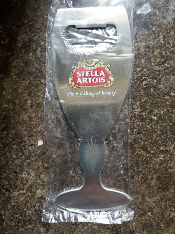 """NEW  -  STELLA ARTOIS BEER GLASS STAINLESS STEEL BOTTLE OPENER 6"""""""