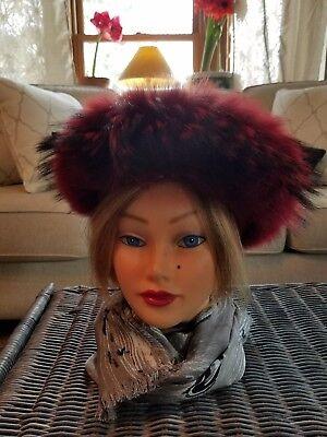 Women's Milliner Fox Fur Wool Red Cuff Hat Neiman Marcus with HAT BOX Gorgeous