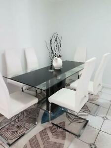 Dining Suit, Glass Top, 6 Comfy Chairs Xlnt Cond. $700 No Holds.