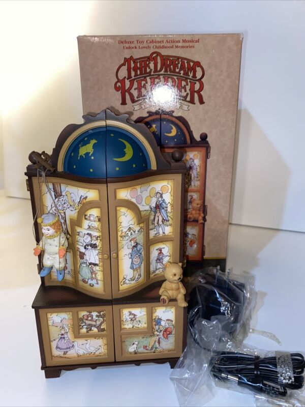 """Vintage Enesco """"The Dream Keeper"""" Lighted Animated Music Box w/ Box & Cord"""