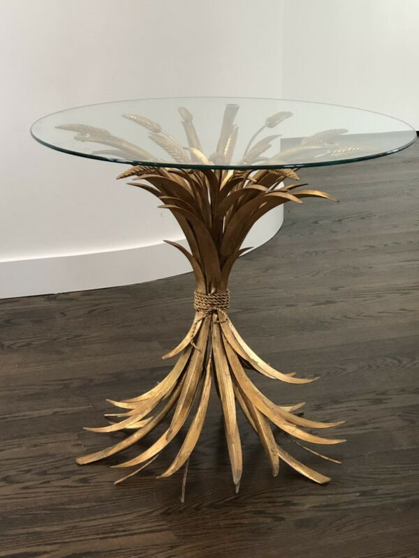 Mid Century Modern Vintage Gold Gilt Sheaf Of Wheat Side Table