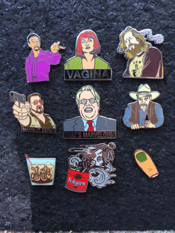 9 Big Lebowski Pins.The Dude, Caucasian, Jesus,Donny, Vagina,Stranger,Toe