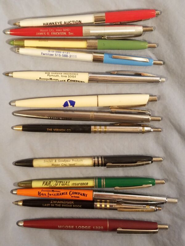 Lot of 13 IOWA Advertising Pens Plymouth, Mason City, Joice, Des Moines, Cresco