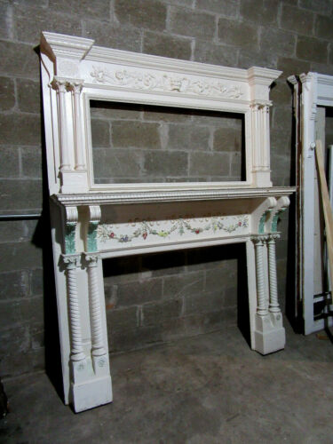 ~ ANTIQUE CARVED 2 PIECE FIREPLACE MANTEL ~ 72 X 90 WITH 48 OPENING ~ SALVAGE