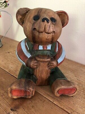 Wooden Hand Carved standing Teddy Bear