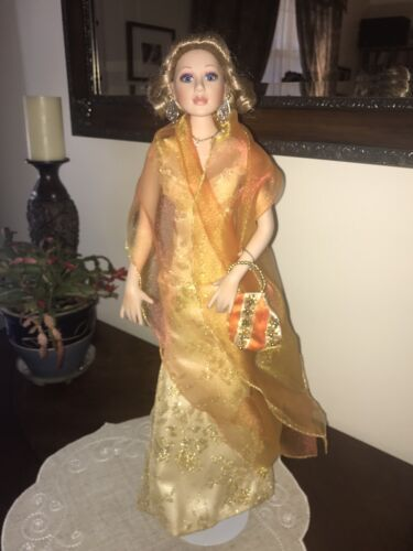 Donna Rubert Porcelain Doll 21 Gold Gown With Jewelry Handbag Tiara - $180.00