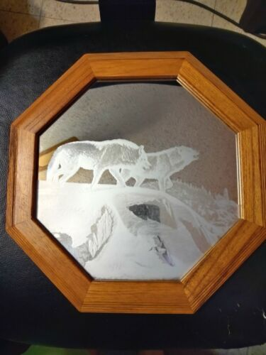 Laser Etched 12 inch Octagonal Wolf Mirrors - 5 etchings